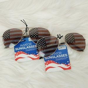 TWO PAIRS American Flag Aviator Novelty Sunglasses